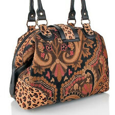 Clever Carriage Company English Crewel Embroidery Satchel HSN PRICE $685.00