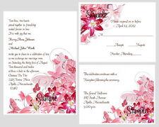 100 Personalized Custom Floral Stargazer Lily Bridal Wedding Invitations Set