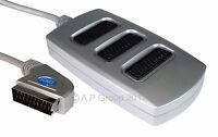 3 TOMAS Plateado SCART Interruptor Caja Conector Adaptador Vídeo Distribuidor