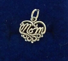 Sterling Silver 12x12mm Mother Mommy says Mom on a cut out heart Charm