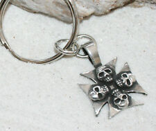 IRON CROSS SKULL GOTHIC Pewter KEYCHAIN Key Chain Ring