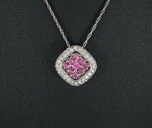 "Bita 14k White Gold Round Pink Sapphire Pave Diamond Square Pendant Necklace 21"""