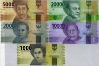 INDONESIA SET 5 UNC 1000 2000 5000 10000 20000 RUP. RANDOM DATE P 155-158