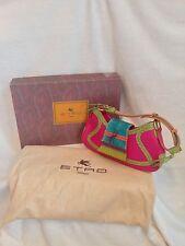 ETRO Pink Leather Fringe Handbag, Green Purple Blue Orange