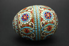 ANTIQUE RUSSIAN IMPERIAL SILVER ENAMEL EASTER EGG, BOX, CLOISONNE, MARKED, 2'1/2