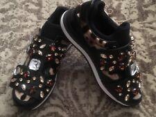 NIB Dolce & Gabbana Black Leather Crystal Embellished Jeweled Sneakers 36 EU