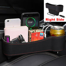 1x 2 USB Car Seat Gap Pocket Storage Organizer Caddy Keys Phone Coins Holder Box