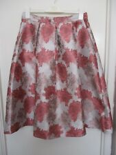 "Satin midi skirt, size 14 (may fit 12 - waist 31"") Silver/grey/coral. Stunning!"