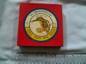 VINTAGE KINGFISHER SILK FLY LINE BOX TROUT SALMON DOUBLE TAPERED ENGLAND VGC