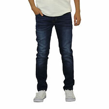 Mens Jeans Crosshatch Emaciated Skinny Leg Soft Stretch Denim Pants