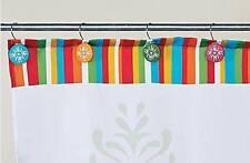 Spring Bright Flourish Shower Curtain Hooks  Set 12  Resin Red Green Yellow Blue