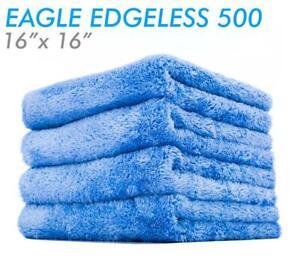 The Rag Company Eagle Edgeless 500 16x16 Plush Microfiber Towel - Blue (4-Pack)