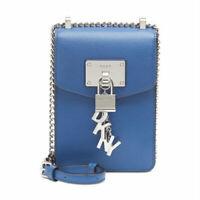 DKNY ELISSA Blue PEBBLE LEATHER CHARM CHAIN STRAP Crossbody Handbag