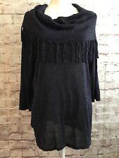 Kim Rogers Brand Midnight Blue Metallic Pullover Sweater Fringe Womens Large NWT