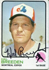 Hal Breeden Montreal Expos 1973 Topps Signed Autograph Photo Card