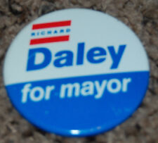 "1989 LITHO BUTTON PIN 2 1/4"" RICHARD DALEY FOR MAYOR OF CHICAGO ILL RARE1989 LIT"