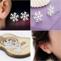 Women Snowflake Earrings Studs Stud 925 Sterling Silver Xmas Gift Fashion Cute