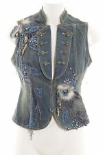 Jeansweste blau extravaganter Stil Damen Gr. DE 34 Weste Vest Denim Vest