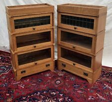 ULTRA RARE PAIR OF 3/4 SIZED ARTS & CRAFTS LEADED GLASS DOOR BARRISTER BOOKCASES