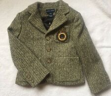 NWT Ralph Lauren Toddler Girls Wool Herringbone Crest Blazer 4 / 4T Orig $375