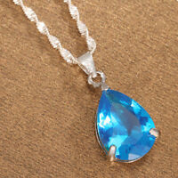 Women 925 Silver Blue Topaz Pendant Necklace Chain Jewelry Wedding Fashion Gifts