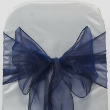 100 Navy blue WEDDING ORGANZA SASHES CHAIR COVER BOW SASH BOW UK SELLER
