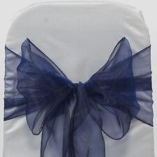100 Navy blue WEDDING ORGANZA SASHES CHAIR COVER BOW SASH BOW UK SELLER