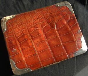 Antique Victorian Silver Mounted Genuine Crocodile Skin Card Case; Bham 1898