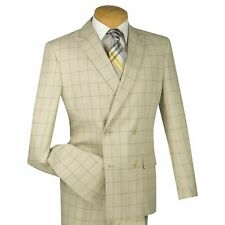VINCI Men's Tan Windowpane Double Breasted 4 Button Slim Fit Suit NEW