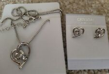 Silver clear Fashion Crystal Pendant Necklace Earrings 2 hearts Set nickel free
