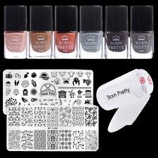 10Pcs/Set Nail Art Stamping Polish Nail Stamping Plates Stamper & Scraper Kits