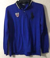 Polo Ralph Lauren Boys Shirt Top Sz L(14-16) Cotton L/S Norway Big Pony Blue