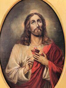 Vintage Jesus Portrait Oil Wood Painting John Wanamaker NY Fine Religious Art