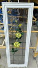 Stained Clear Glass With Yellow Roses Transom window 41 5 x 14 25  Wood frame