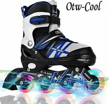 Otw-Cool Adjustable Inline Skates for Kids and Adults Small Blue Free Shipping