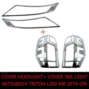 FOR MITSUBISHI TRITON L200 MR 19-20 TAIL LAMP HEAD LAMP COVER CHROME SET