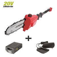 Sun Joe Cordless Telescoping Pole Chain Saw | 8-inch | 2.5-Amp | 20-Volt (Red)