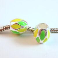 3 Beads - Yellow Green Neon Enamel Barrel Silver European Bead Charm E0947