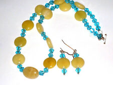 Aqua Swarovski crystals/Oval Yellow Jade Beads Necklace with Earrings