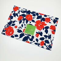 Kate Spade New York Garden Rose Flowers Navy Red Cotton Placemats Set of 4
