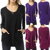 Plus Size Women Long Sleeve V Neck Flowy Buttons Tunic Shirt Button Tops Blouse