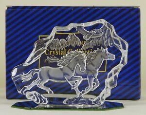 Crystal Running Horses Plaque Sculpture