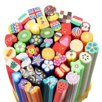 50pcs Cute Nail Art Canes Sticks Manicure Fimo Canes 3D Fruit Pattern Slices