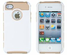 DandyCase 2in1 Hybrid High Impact Hard iPhone 4/4S - White/Gold