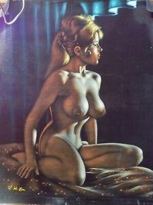 "Rare Vintage Beautiful Black Velvet Nude Painting 30"" W x 37"" L Signed"