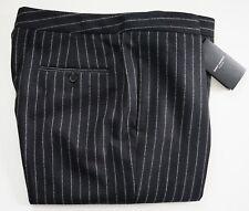 $990 SAINT LAURENT Paris Black PINSTRIPED WOOL FLANNEL Pants Trouser IT-56 US-38