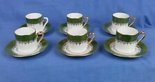 Beauiful Set 6 Vintage Limoges Demitasse  Small  Porcelain Cups and Saucers