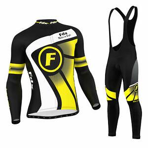 FDX Mens Cycling Jersey Winter Thermal Top + Cycling Leggings Bib tights set