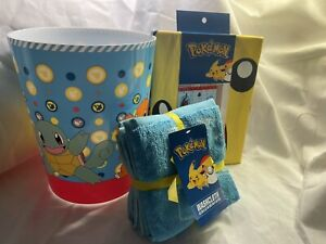"Pokemon Pikachu Bath Set-72""x72"" Shower Curtain-4Pc Washcloth-Garbage Can - NEW"