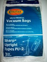 Sharp Twin Energy PU-2 Vacuum Bags-Micro Filtration 3Pack 99.7% Filtration